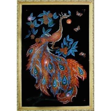 Картина из кристаллов Сваровски «Звездный павлин»