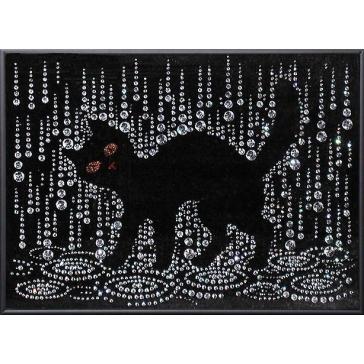 Картина из кристаллов Сваровски «Кошка под дождем»