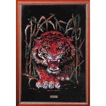 Картина из кристаллов Сваровски «Тигр в тростнике»
