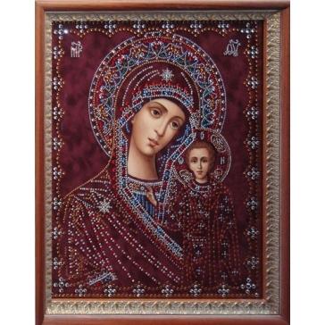 Икона инкрустированная кристаллами Swarovski «Казанская Божья Матерь»