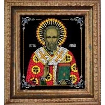Икона инкрустированная кристаллами Swarovski «Николай Чудотворец»