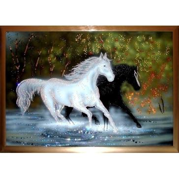 Картина со стразами Сваровски «Кони»