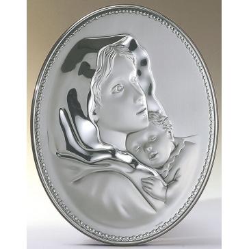 Посеребренное панно «Мадонна с младенцем»