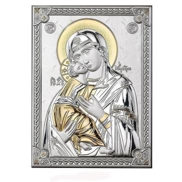 Посеребренная икона Божья Матерь «Владимирская»