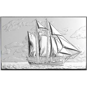 Посеребренная интерьерная картина «Парусник»