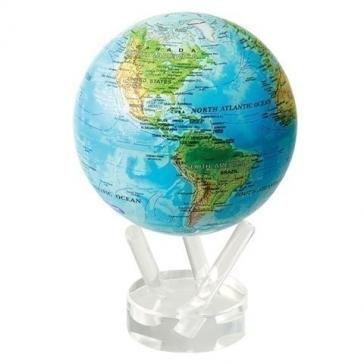 Глобус настольный самовращающийся большой с общегеографической картой мира
