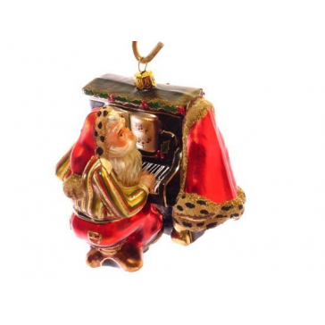 Стеклянная ёлочная игрушка «Дед Мороз пианист», производство Польша