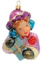 Елочная игрушка «Девушка с подарком»