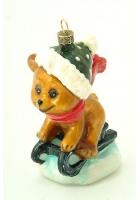 Елочная игрушка «Мишка на санках»