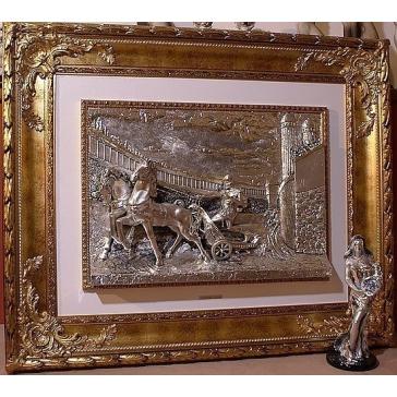 Посеребренная интерьерная картина ««Римлянин на колеснице»»