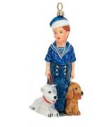 Елочная игрушка «Морячок с собачками»