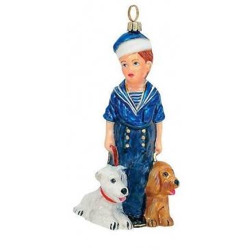 Польская елочная игрушка «Морячок с собачками», высота 14 см