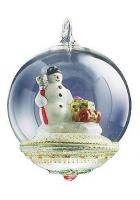Елочная игрушка-глоба «Снеговик с подарками»
