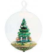 Елочная игрушка-глоба «Поезд Деда Мороза»