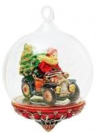 Елочная игрушка-глоба «Санта с подарками на авто»