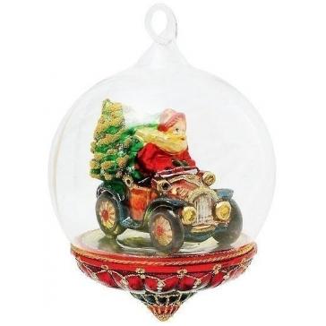 Елочная игрушка-глоба «Санта с подарками на авто», Польша, Komozja и Mostowski