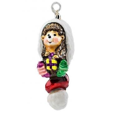 Елочная игрушка стеклянная «Ежик в шапке»