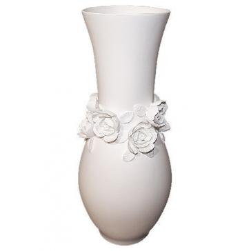 Фарфоровая ваза для цветов «Розы», ручная работа