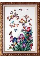 Шелковая картина «Сад бабочек»