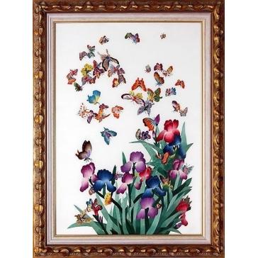 Вышитая шелковыми нитями картина «Сад бабочек»