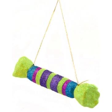 Елочная игрушка из стекла «Конфетка», ручная работа