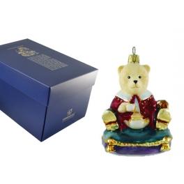 Стеклянная игрушка на елку «Медвежонок на подушке», Komozja и Mostowski, Польша