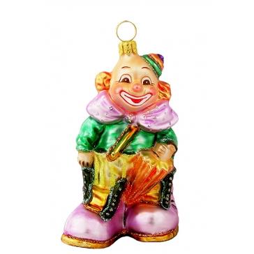 Елочная игрушка ручной работы «Клоун с зонтиком»