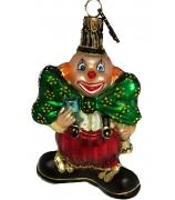 Елочная игрушка «Клоун с зелёным бантом»