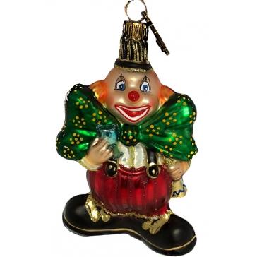 Елочная игрушка «Клоун с зелёным бантом», Komozja Family, Польша