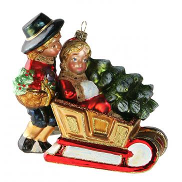 Елочная игрушка Komozja Family «Викторианская пара в санях», Польша