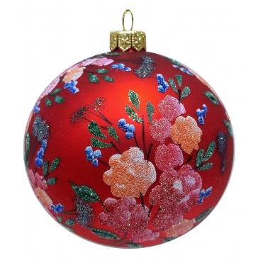 Елочный шар из стекла «Красный букет», производство Польша