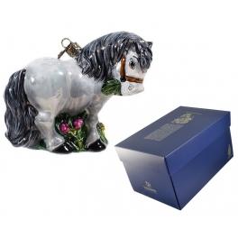 Коллекционная елочная игрушка «Серая лошадка», 11х13 см, Komozja и Mostowski