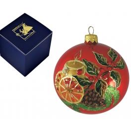 Елочный шар «Рождественская свеча на красном»