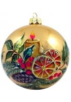 Елочный шар «Рождественская свеча на золотом»