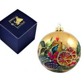 Елочный шар «Рождественская свеча на золотом», Польша