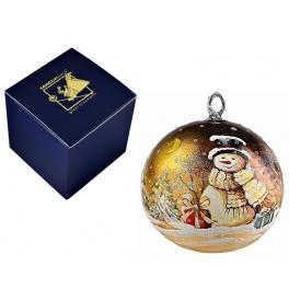 Елочный шар «Снеговик с подарками» диаметром 10 см