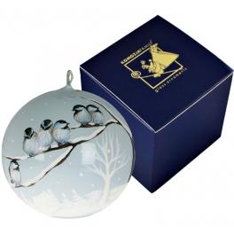 Елочный шар «Птички на морозе» из коллекции польских игрушек Komozja Family