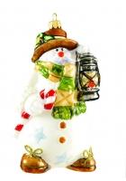 Елочная игрушка «Санта-снеговик с лампой»