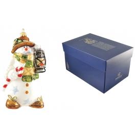 Елочная игрушка тонкой ручной работы«Санта-снеговик с лампой»