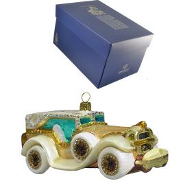Елочная игрушка ручной работы «Белое авто», метариал: стекло, стразы