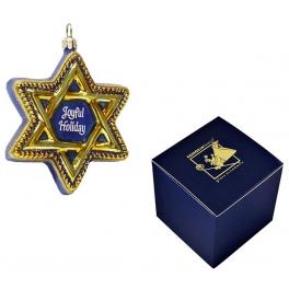 Стеклянная ёлочная игрушка «Звезда Давида», ручная работа