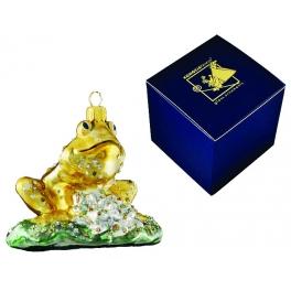 Елочная игрушка из стекла «Жаба на кувшинке»