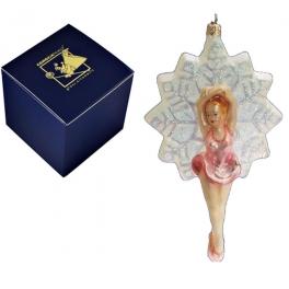 Стеклянная елочная игрушка «Балеринка-снежинка», производство Польша