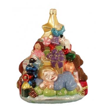 Польская елочная игрушка «Малыш и елочка с подарками», ручная работа