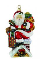 Елочная игрушка «Санта на крыше»