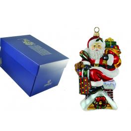 Стеклянная елочная игрушка Komozja Family «Санта на крыше», ручная работа