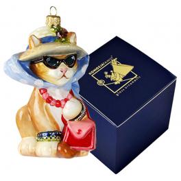 Елочная игрушка ручной работы «Кошка в шляпе», производство Польша