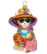 Елочная игрушка «Кошка модница»