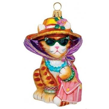 Елочная игрушка из стекла «Кошка модница», ручная работа, производство Польша