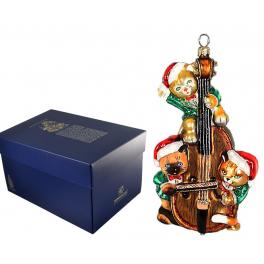 Елочная игрушка «Котята на виолончели», коллекция Komozja Family, Польша